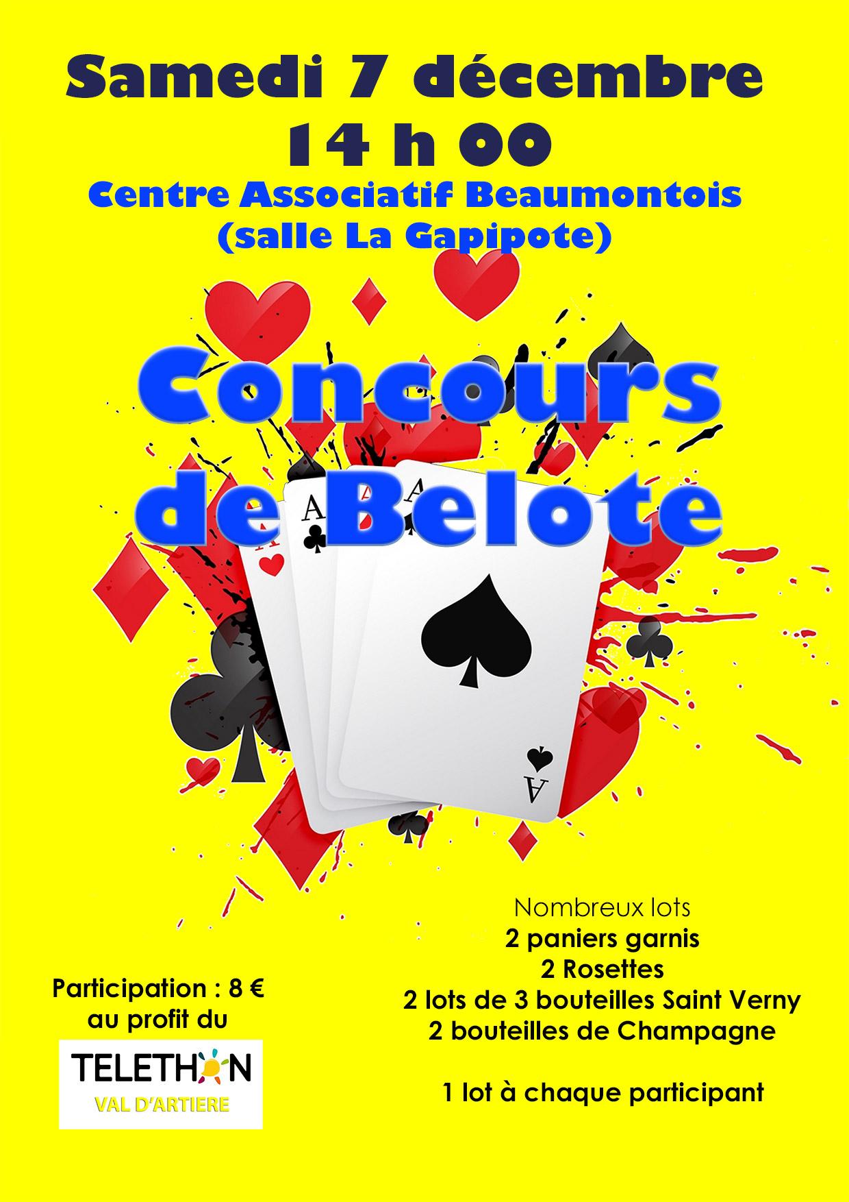 Concours de belote pour le Téléthon